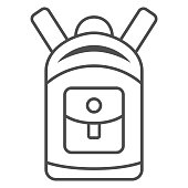 Backpack thin line icon, World snowboard day concept, sport rucksack sign on white background, unisex tourist backpack icon in outline style for mobile concept and web design. Vector graphics