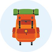 Backpack. Vector isolated bag for travel, baggage, tourism, hiking, camping.Equipment, rucksack, pack, back, design object. Adventure element.Orange and green colors.