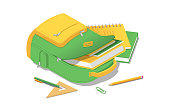 Backpack with books and school supplies in isometric isolated
