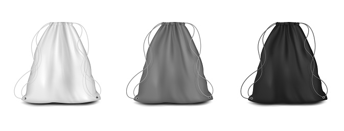 Backpack with strings mockup set, vector illustration. White, grey, black drawstring canvas pouch, sport bag templates.