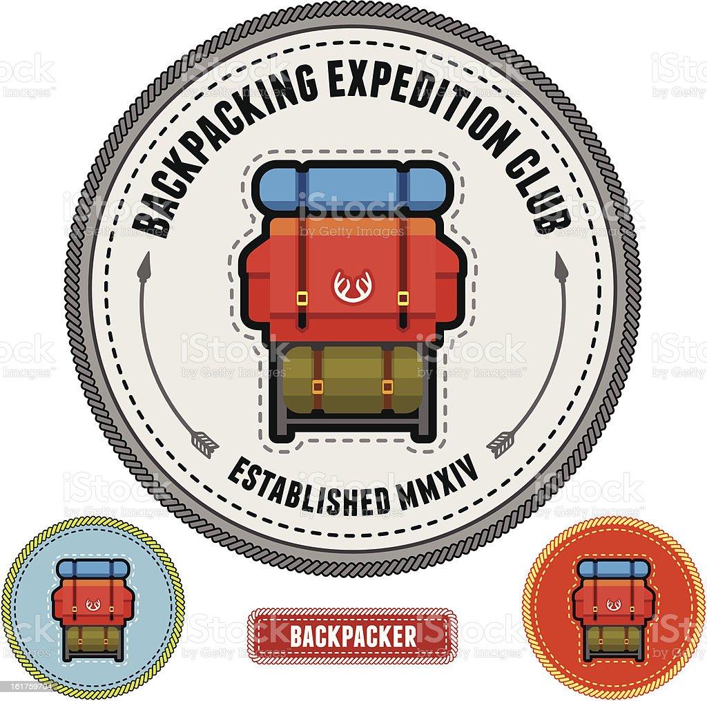 Backpacker badge vector art illustration