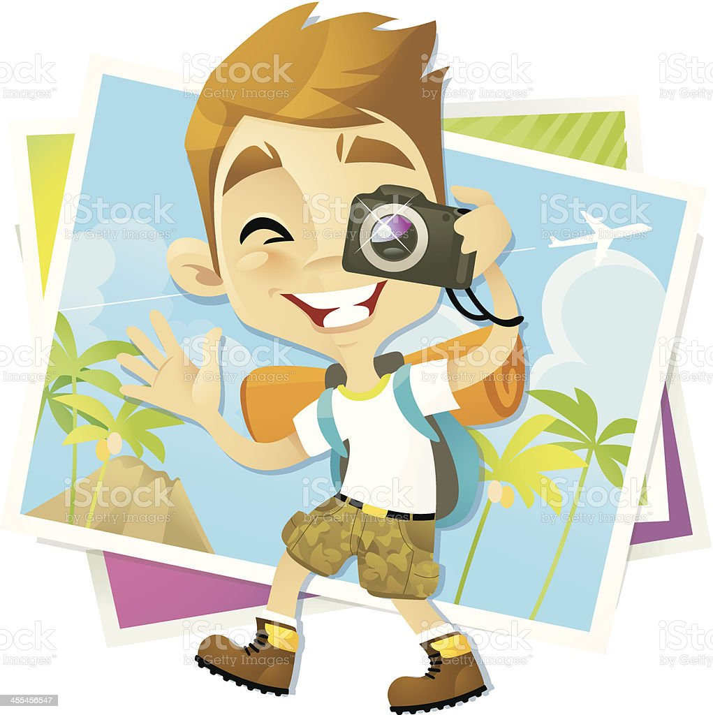 Backpacker Boy royalty-free backpacker boy stock vector art & more images of adventure