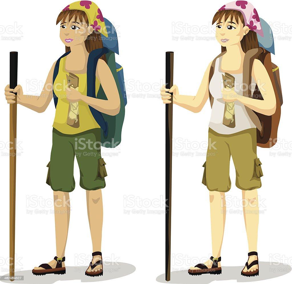 Backpacker Girl royalty-free stock vector art