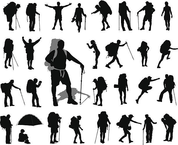 ilustraciones, imágenes clip art, dibujos animados e iconos de stock de mochilero juego - excursionismo