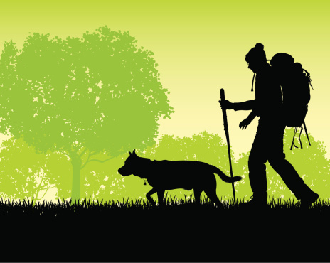 Backpacker with His Dog - Journey, Adventure, Hike Background
