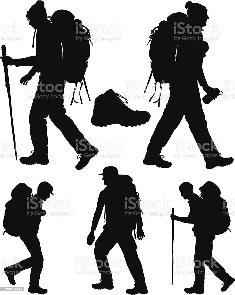 Backpacking Hikers and Hiking Shoe vector art illustration