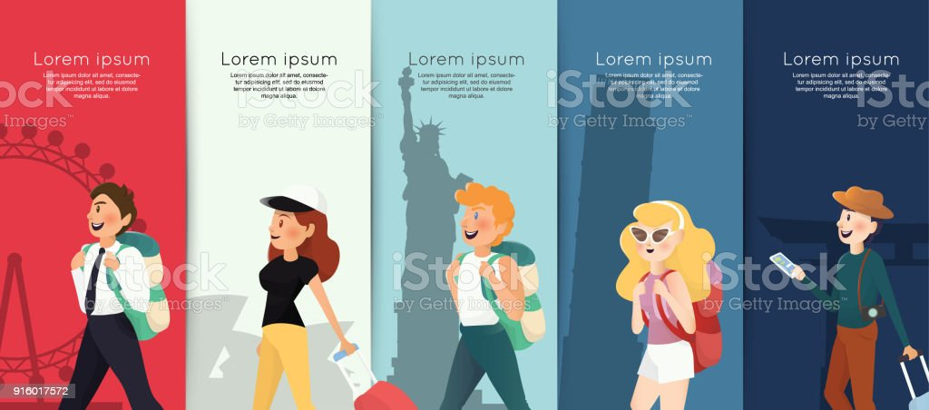 Backpacking people with traveling landmarks background vector art illustration