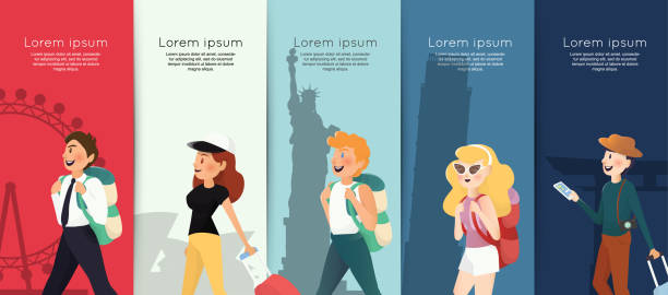 backpacking people with traveling landmarks background - tourist stock illustrations