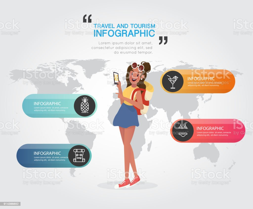 Backpacking woman with travel and tourism on world map stock vector backpacking woman with travel and tourism on world map royalty free backpacking woman with travel gumiabroncs Choice Image