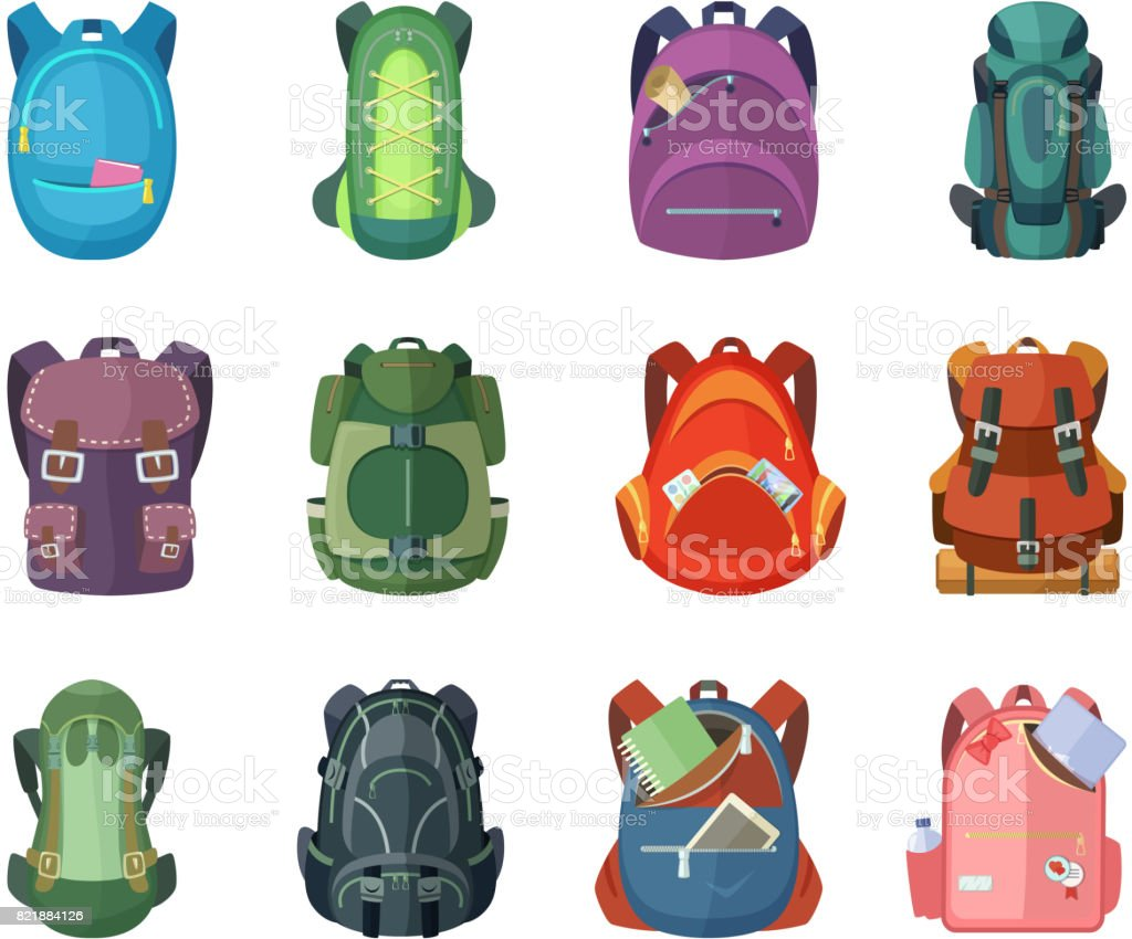 Backpacks for school and hiking. Vector illustration in flat style векторная иллюстрация