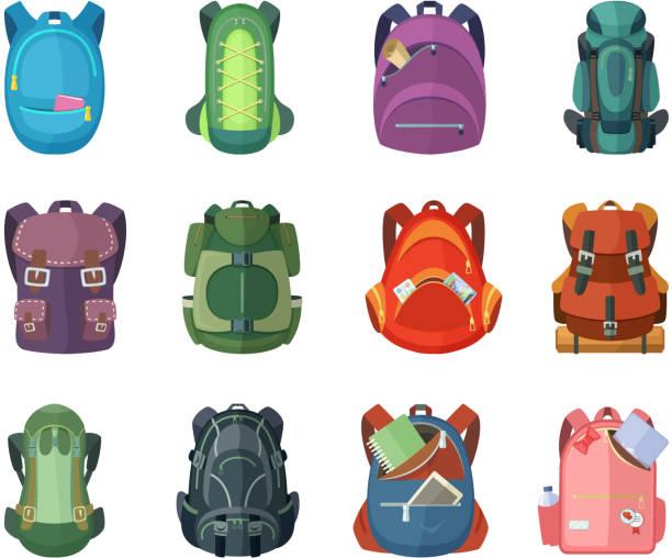 Bекторная иллюстрация Backpacks for school and hiking. Vector illustration in flat style
