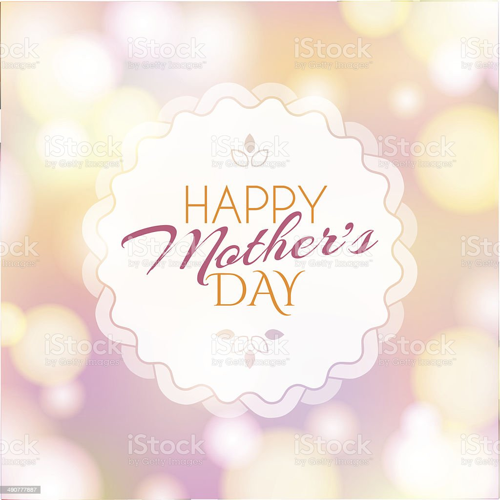 Backrground with badge and greeting Happy Mother's Day vector art illustration