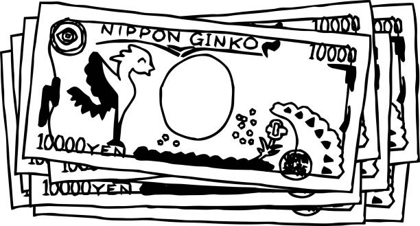 かわいい手描きの日本の裏面の束1万円注概要 - 日本銀行点のイラスト素材/クリップアート素材/マンガ素材/アイコン素材
