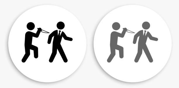 backstabbing schwarz-weiß runde icon - vertrauensbruch stock-grafiken, -clipart, -cartoons und -symbole