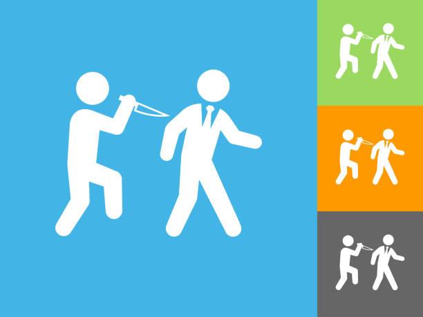 hinterhältiger flache symbol auf blauem hintergrund - vertrauensbruch stock-grafiken, -clipart, -cartoons und -symbole