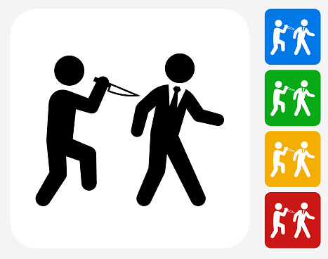 Backstabbing Icon. This 100% royalty free vector illustration features the main icon pictured in black inside a white square. The alternative color options in blue, green, yellow and red are on the right of the icon and are arranged in a vertical column.