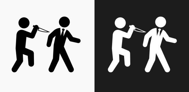 hinterhältiger symbol auf schwarz-weiß-vektor-hintergründe - vertrauensbruch stock-grafiken, -clipart, -cartoons und -symbole