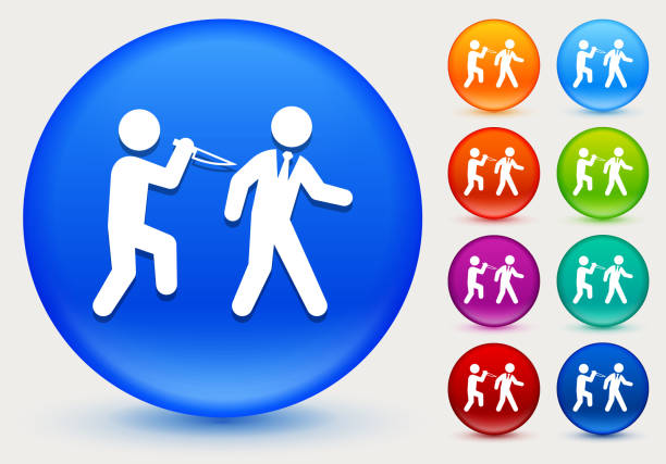 hinterhältiger symbol auf glänzenden farbkreis tasten - vertrauensbruch stock-grafiken, -clipart, -cartoons und -symbole