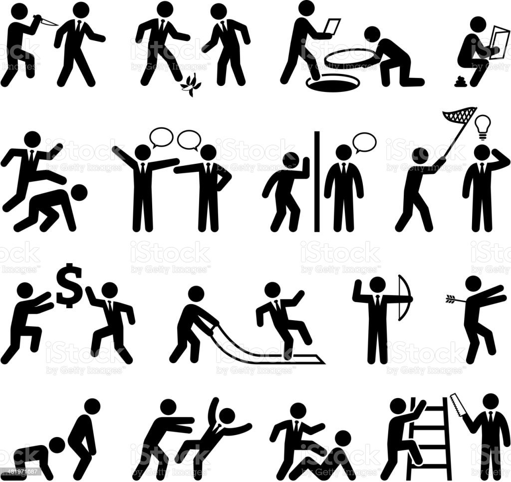 Backstabbing Office Politics and Businessman black & white icon set vector art illustration