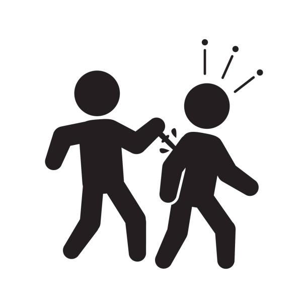 hinterhältiger, stechende verrat-symbol. vektor. - vertrauensbruch stock-grafiken, -clipart, -cartoons und -symbole