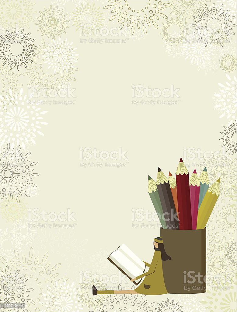 Back-to-school girl vector art illustration
