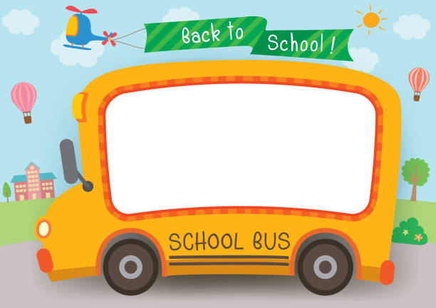 back-to-school-school-bus-horizon Illustration vector graphic school bus for back to school frame template. school supplies border stock illustrations