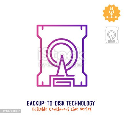 istock Backup to Disk Technology Continuous Line Editable Stroke Icon 1264363097