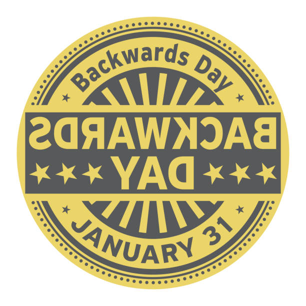 Backwards Day, January 31 Backwards Day, January 31, rubber stamp, vector Illustration bending over backwards stock illustrations