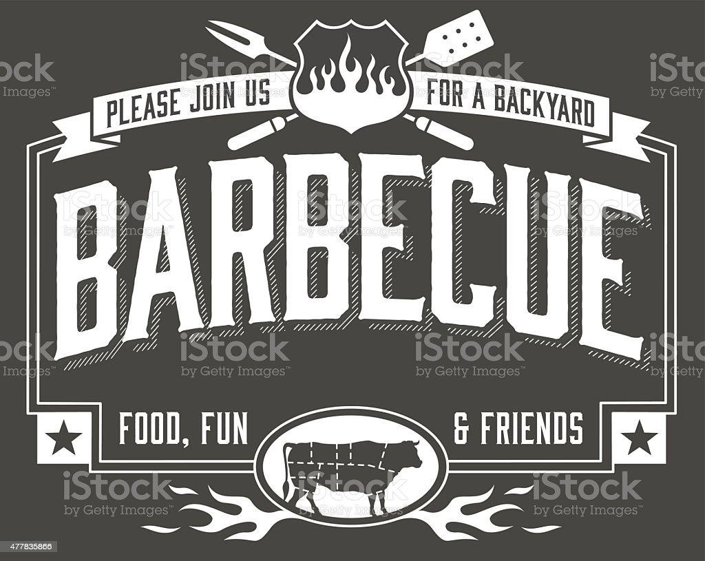 Backyard Barbecue Invitation vector art illustration