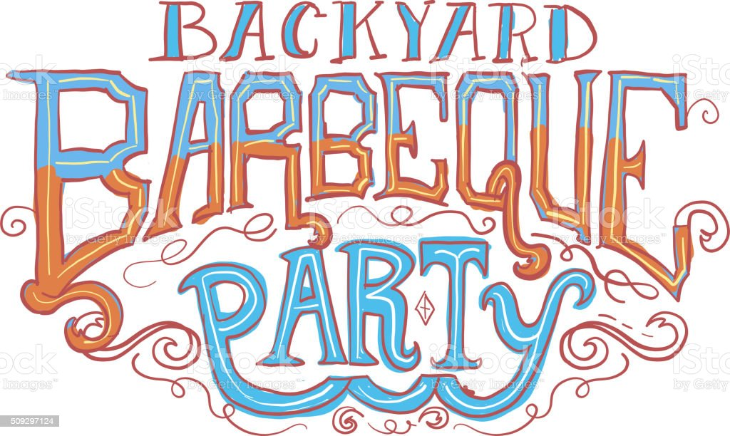 Backyard Barbeque Party Label Royalty Free Backyard Barbeque Party Label  Stock Vector Art U0026amp;