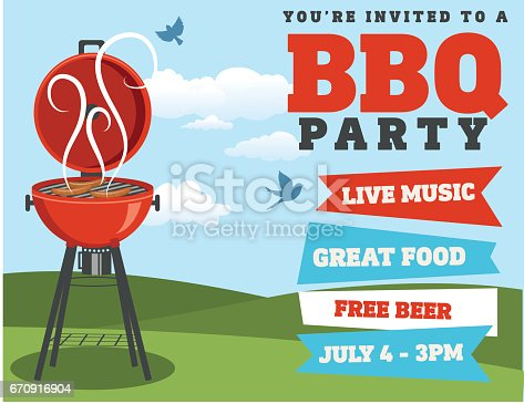 Horizontal Backyard BBQ on a blue sky with grass in the back.  Party invitation. Lots of room for text. Ideal for a template or summer party invitation.