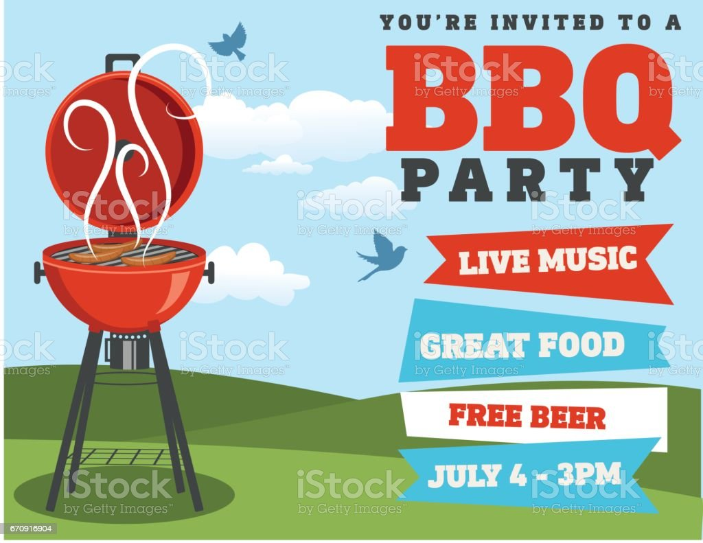 Backyard BBQ Background Invitation Template - illustrazione arte vettoriale