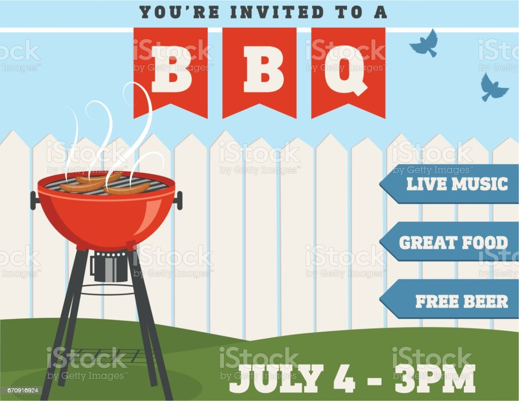 Backyard BBQ Background Invitation Template vector art illustration