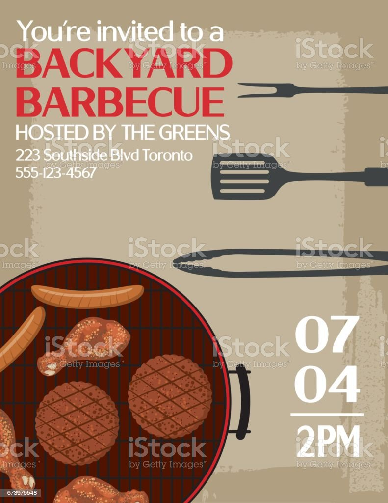 Backyard BBQ Background Invitation Template royalty-free backyard bbq background invitation template stock vector art & more images of backgrounds