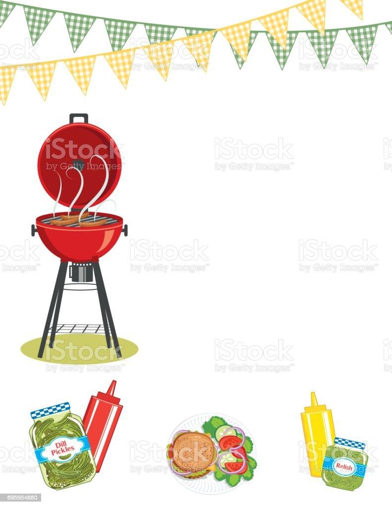 Backyard BBQ Background Invitation Template vector art illustration