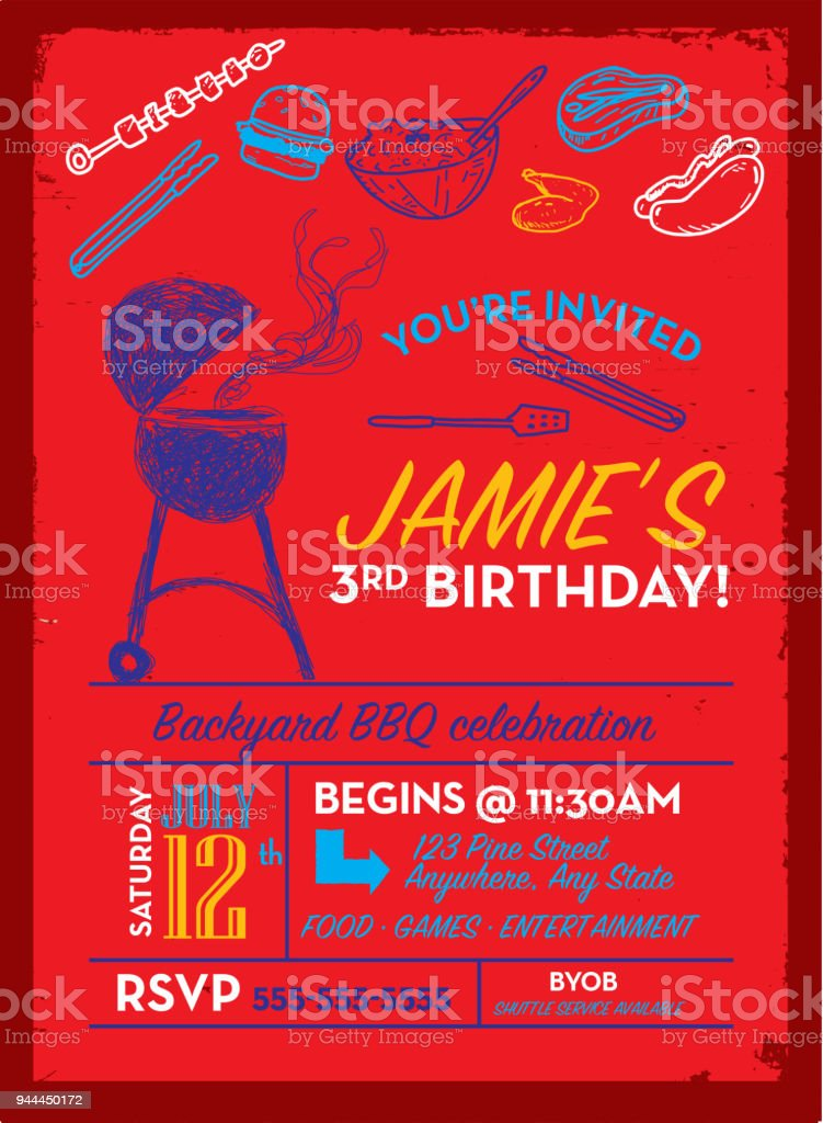 Backyard Bbq Birthday Party Invitation Design Template Stock Vector ...
