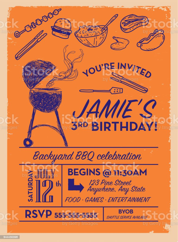 backyard bbq birthday party invitation design template stock vector