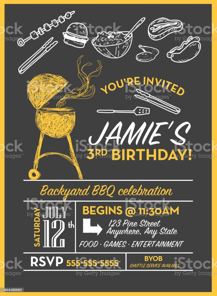 backyard bbq birthday party invitation design template stock vector
