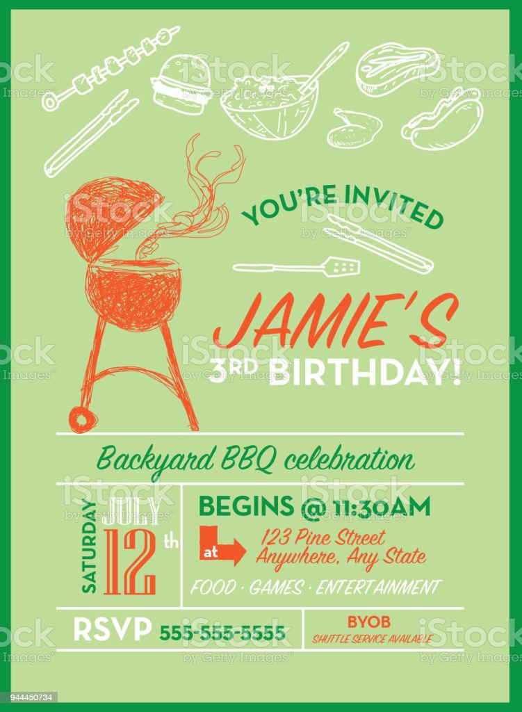 Backyard Bbq Birthday Party Invitation Design Template Stock