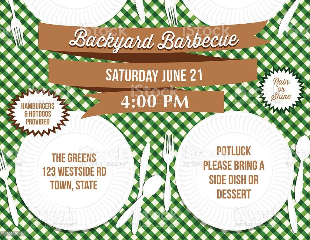 backyard bbq paper plate picnic table invitation template stock