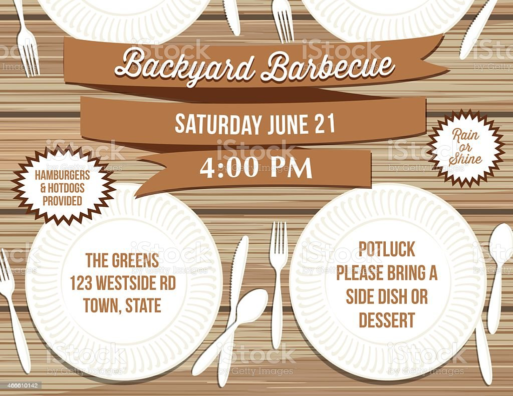Backyard BBQ Paper Plate Picnic Table Invitation Template vector art illustration