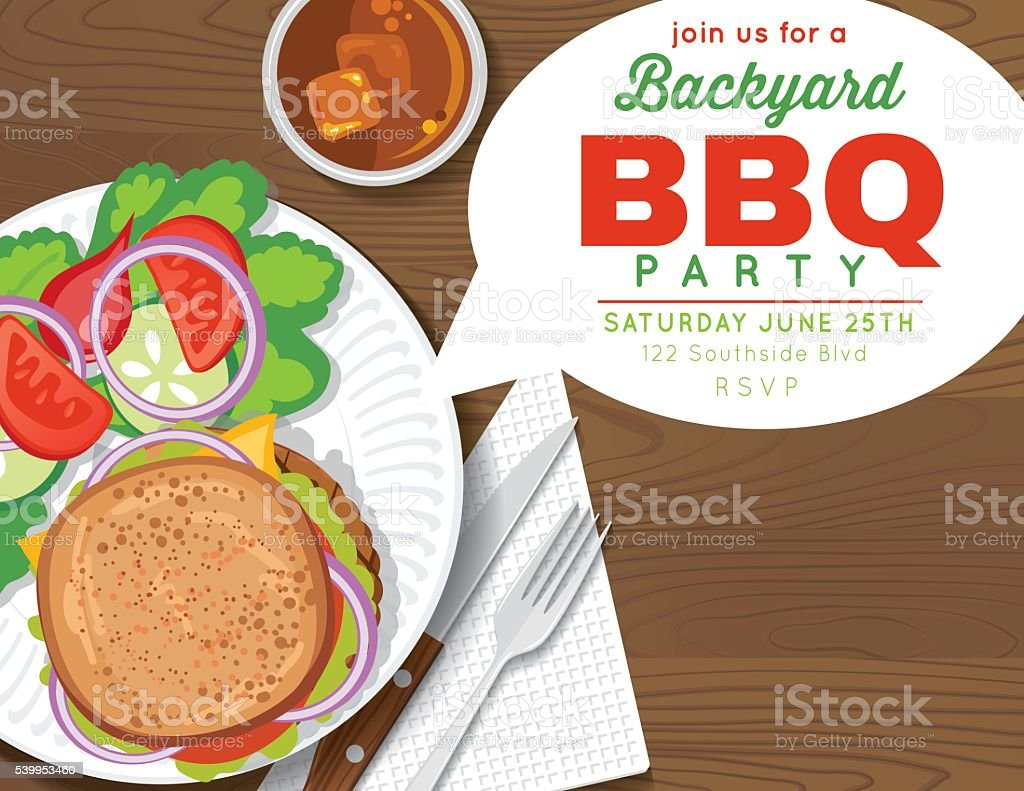 backyard bbq party invitation template stock vector art 539953460