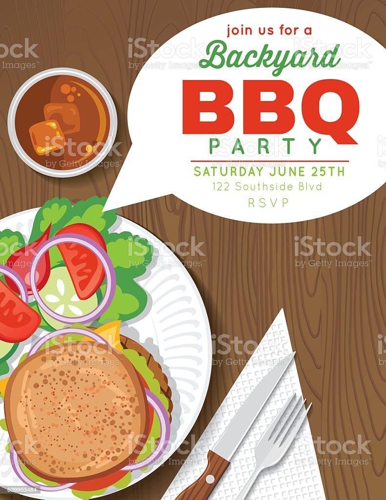 backyard bbq party invitation template stock vector art 539953484