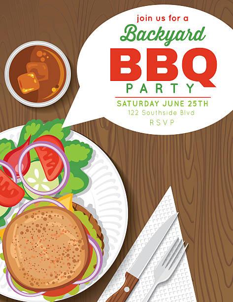 garten-barbecue-party-einladung vorlage - plastikteller stock-grafiken, -clipart, -cartoons und -symbole