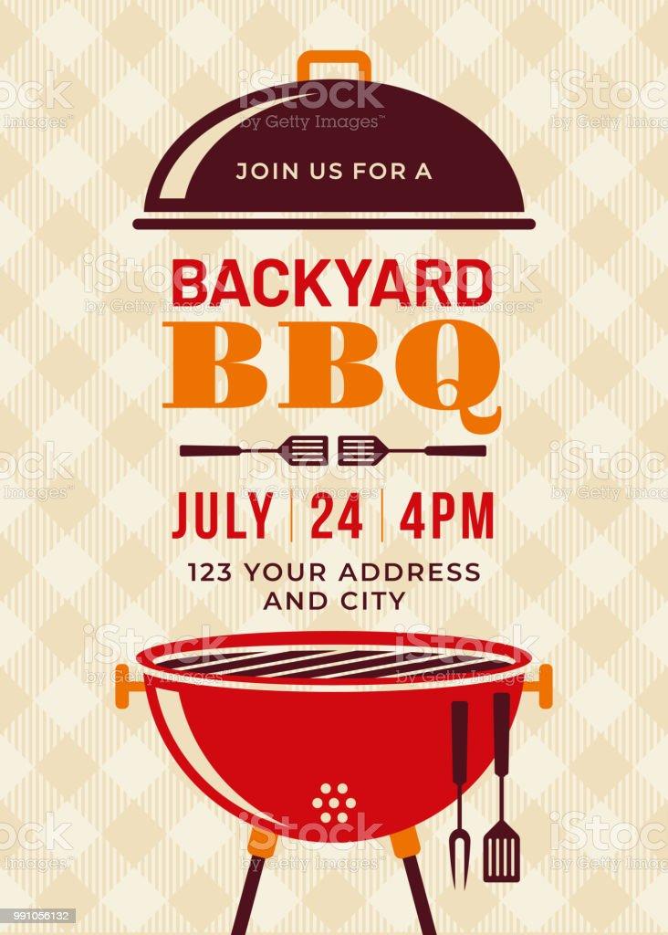 Backyard BBQ Party Invitation Template Backyard BBQ Party Invitation Template - Illustration American Culture stock vector