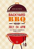 Backyard BBQ Party Invitation Template - Illustration