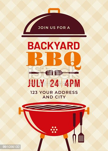 Backyard BBQ Party Invitation Template - Illustration