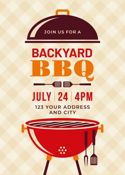Backyard BBQ Party Invitation Template Backyard BBQ Party Invitation Template - Illustration cooking clipart stock illustrations