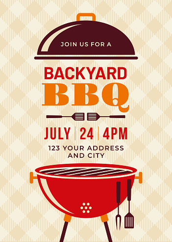 Backyard Bbq Party Invitation Template Stock Illustration - Download Image Now