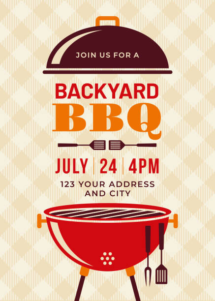 Backyard BBQ Party Invitation Template vector art illustration